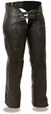Milwaukee Leather Womens Chaps w/Reflective Tribal Embroidery Black