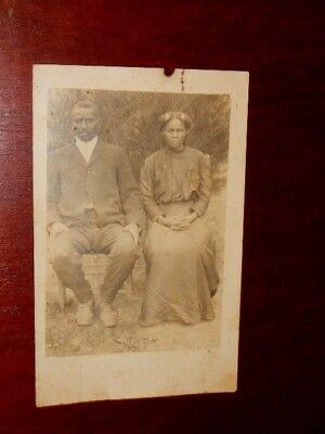 Antique Black Americana RPPC of African American Couple (Unposted Postcard)