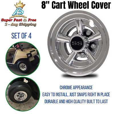 YAMAHA GOLF CART Wheel Covers SS Chrome 8