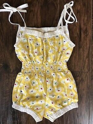 Vintage Retro Bright Yellow Flowers Shoulder Tie Toddler Sunsuit Romper 18mo