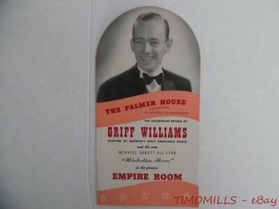 1940s Griff Williams Orchestra Empire Room Palmer House Hotel Brochure Chicago