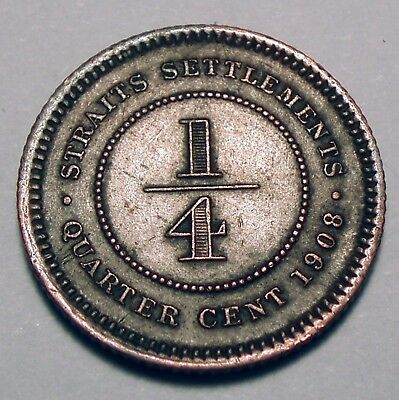 STRAITS SETTLEMENTS, BRITISH CROWN COLONY 1/4 CENT 1908 Rare