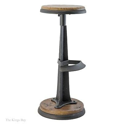 Industrial Bar Stool Antique Style Cast Iron and Wood for Restaurant Home