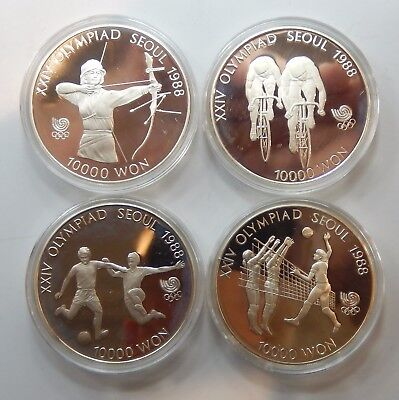 South Korea, Group of 8, 1988 Olympics Silver 10,000 Won - Proof !!