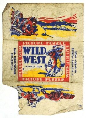 S002. Vintage: WILD WEST PICTURE PUZZLE Wax Wrapper from Gum, Inc. (1933) [