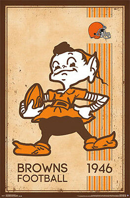 NFL Heritage Series CLEVELAND BROWNS 1940s-Style (Brownie Elf) Wall POSTER