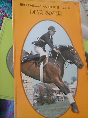 Unused 1976 Marion Coakes Mould on Stroller Olympics showjumping Birthday card