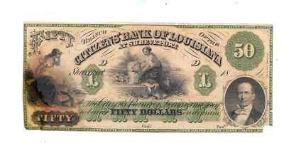 1800's $50 Citizens Bank Of Louisiana Shreveport Obsolete Currency