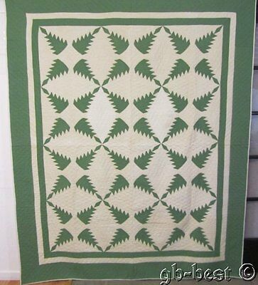 """INCREDIBLE c 1930s Feathered Star Quilt GREEN vintage 90"""" x 74"""" tiny pieces"""