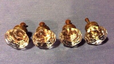 Vintage Antique 12 Sided Glass And Brass Draw Pulls Handles Set Of 4