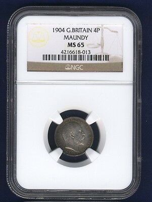 England Edward Vii  1904  Four Pence Maundy Coin Uncirculated Certified Ngc Ms65
