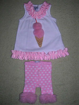 New❤Mud Pie❤Spring Summer Outfit❤Easter❤Tunic & Leggings❤Pink-White❤9-12M❤