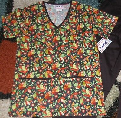 Christmas 2 pc Set Top & pant With Pockets Black Patch Leaves Print Sz XS to L