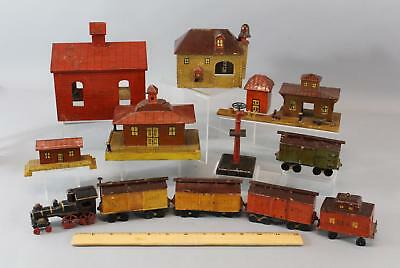 Antique Early 20thC American Folk Art Steam Train & Station Buildings Village NR