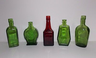 Lot of 5 Vintage Wheaton Glass Bottles BITTERS, IN SILVER WE TRUST, RIP and more