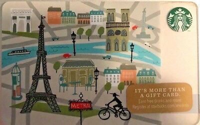 "New 2014 Starbucks ""biking In Paris""  Gift Card No Value Mint"