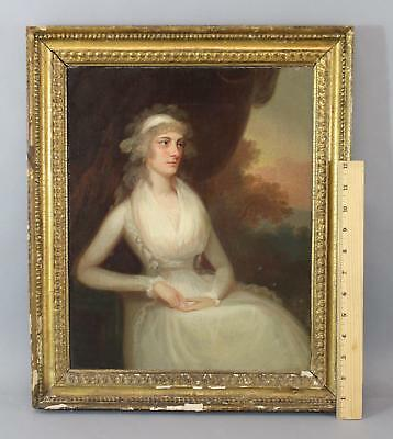 18thC O/C Portrait Oil Painting Young Woman in White, Original Gilt Frame