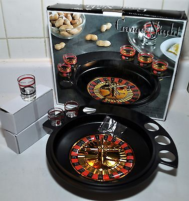 Crystal Clear Game Night Roulette Drinking Game ~ 9 PC Set