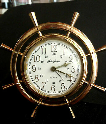 Seth Thomas Ships Wheel Wind-Up Alarm Marine Clock Germany
