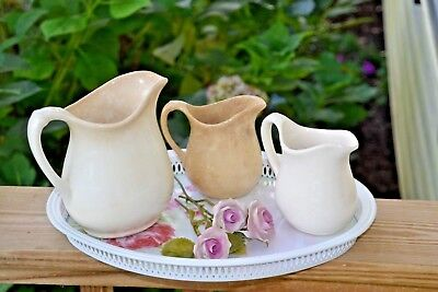 Lot of 3 Collection of Gorgeous and Antique White Ironstone Vintage Pitchers
