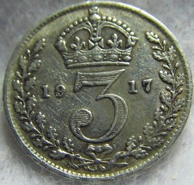 1917 Great Britain Silver 3 pence ~ Extremely Fine Sterling Silver ~ KM# 813