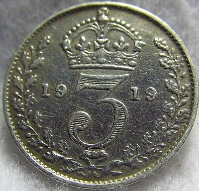 1919 Great Britain Silver 3 pence ~ Extremely Fine Sterling Silver ~ KM# 813