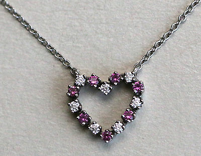 18k white gold diamond and ruby heart necklace