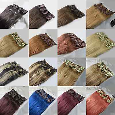 "USPS 15""20""22""26""28"" 7PCS Clip In 100% Remy Human Hair Extensions 75g 105g 140g"