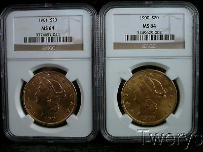 Lot Of 2 Pieces 1900 And 1901 Liberty Head Gold $20 Double Eagles Ngc Ms64