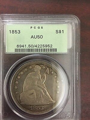 1853 Seated Dollar $1 PCGS AU50 OGH