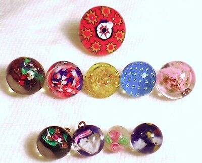 Lot Of 10 Beautiful Vintage Glass Paperweight Buttons - Including 1 Diminutive