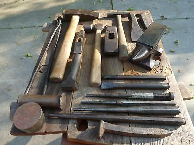 19 Pc. Lot Blacksmith/Anvil Assorted Chisels, Hammers, Small 5 lb. 8 oz. Anvil
