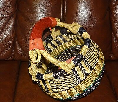 Authentic African Basket from Ghana for miscellaneous use and decoration