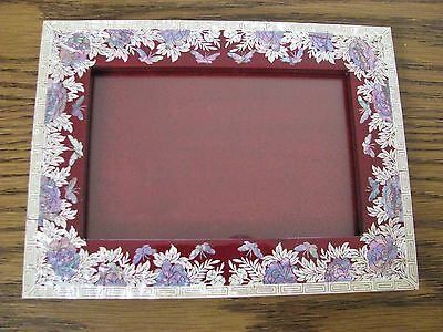 Asian Red Brown Lacquer Picture Frame Inlaid Mother of Pearl Handcrafted MOP