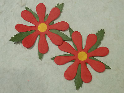 25 RED Paper FLOWERS MPFF25R 55mm Christmas Card Scrapbooking Embellishments