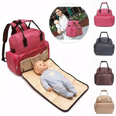 AU Large Diaper Nappy Backpack Bag Mummy Changing Pad Baby Tote Bags Handbag New