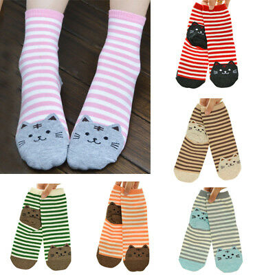 6Pairs Women Cute 3D Cartoon Animal Striped Socks Cat Footprints Cotton Socks