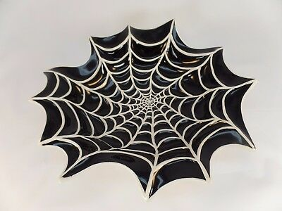 "12"" Ceramic Halloween Spider Web Black & White Serving Dish/ Candy Bowl"