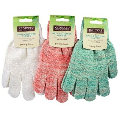 EcoTools  Bath & Shower Exfoliating Gloves, 1 Pair/Cruelty Free/Recycled PET