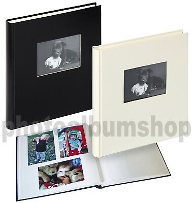Charm stitchbound drymount photo album with window, smooth cover, white pages