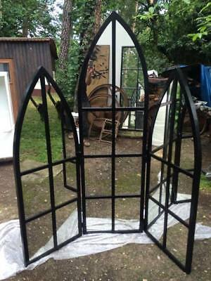 Large Antique Reclaimed Gothic Metal Arched Window Frame Mirror