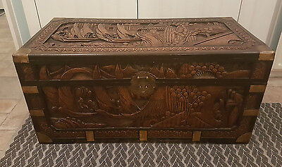 Antique Chinese Carved Camphor Chest brass corners trunk