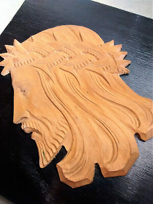Beautifully-carved wood wooden bas relief head Jesus Christ, Poland tile/plaque