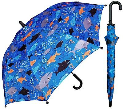 "32"" Children Kid Shark-nado Umbrella - RainStoppers Rain/Sun UV"