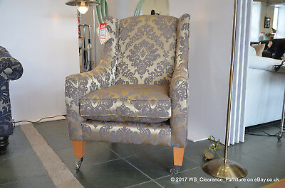 Armchair Mitford in Gold Damask Fabric Wingback Style Accent Chair RRP£1173