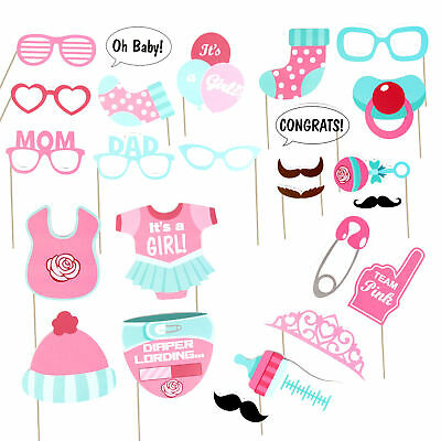 FUN 25PCS Baby Shower Photo Booth Props New Born Party Little Lady Girl in Pink