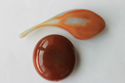 A pair of smooth beautiful chinese carved jade/hardstone display or pendant.