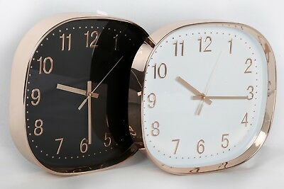 30cm Modern Square/Round Metallic Copper Rose Gold Wall Hanging Clock Kitchen