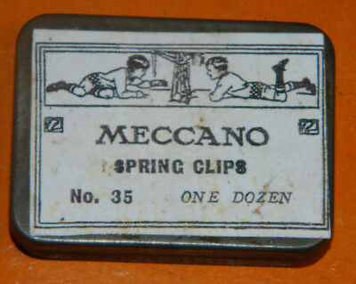 small Meccano parts tins, three labels, six tins.