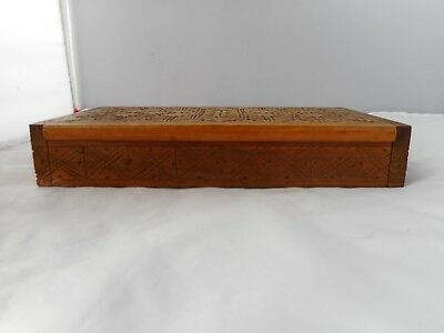 VINTAGE TREEN STAMP BOX-19.25x10cms and 3.25cms high